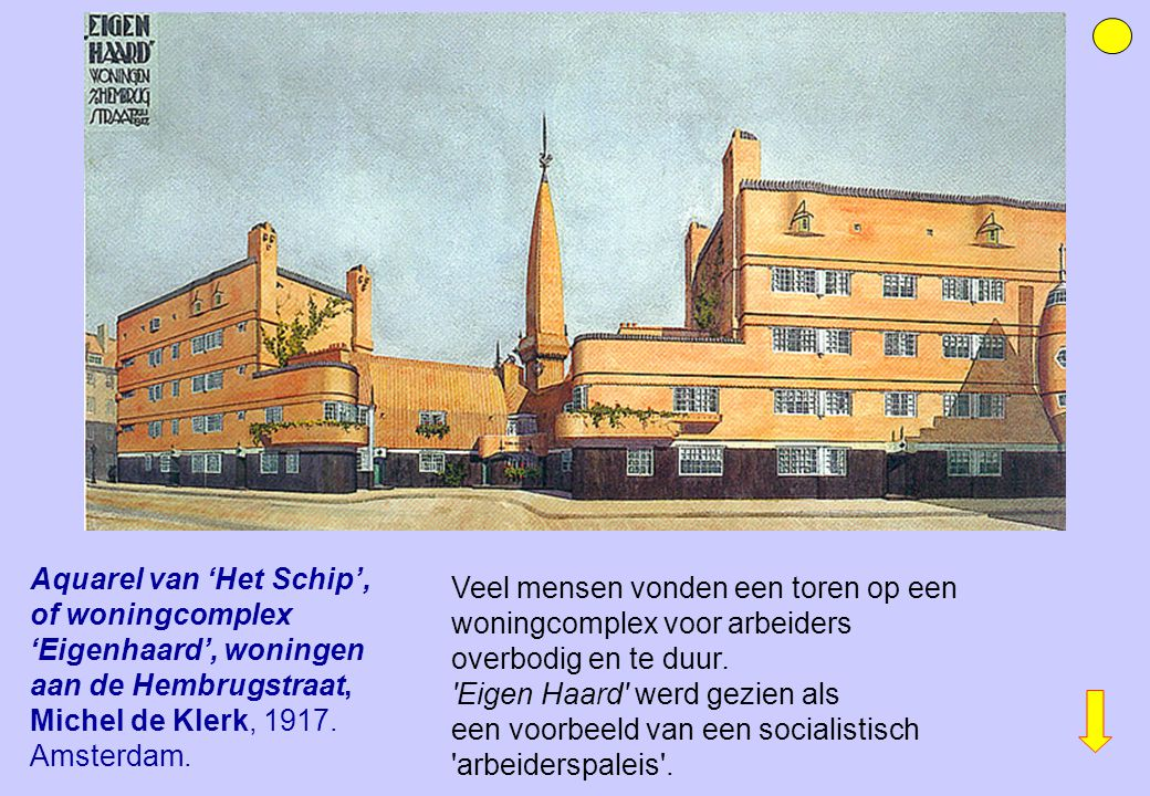 Aquarel van 'Het Schip', of woningcomplex 'Eigenhaard', woningen aan de Hembrugstraat, Michel de Klerk, 1917. Amsterdam.