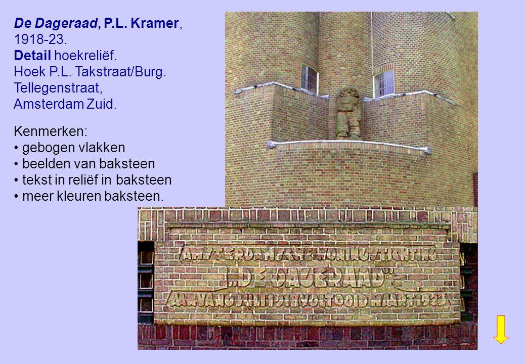 De Dageraad, P.L. Kramer, 1918-23. Detail hoekreliëf.