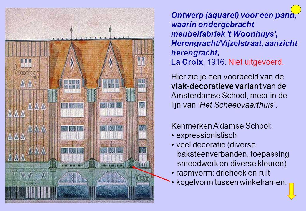 Ontwerp (aquarel) voor een pand, waarin ondergebracht meubelfabriek t Woonhuys , Herengracht/Vijzelstraat, aanzicht herengracht,