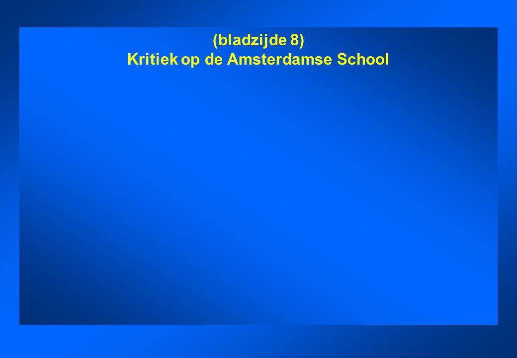 Kritiek op de Amsterdamse School