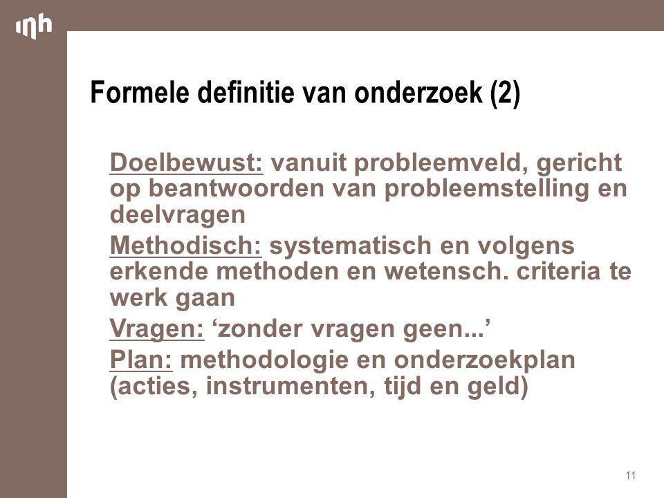 Formele definitie van onderzoek (2)