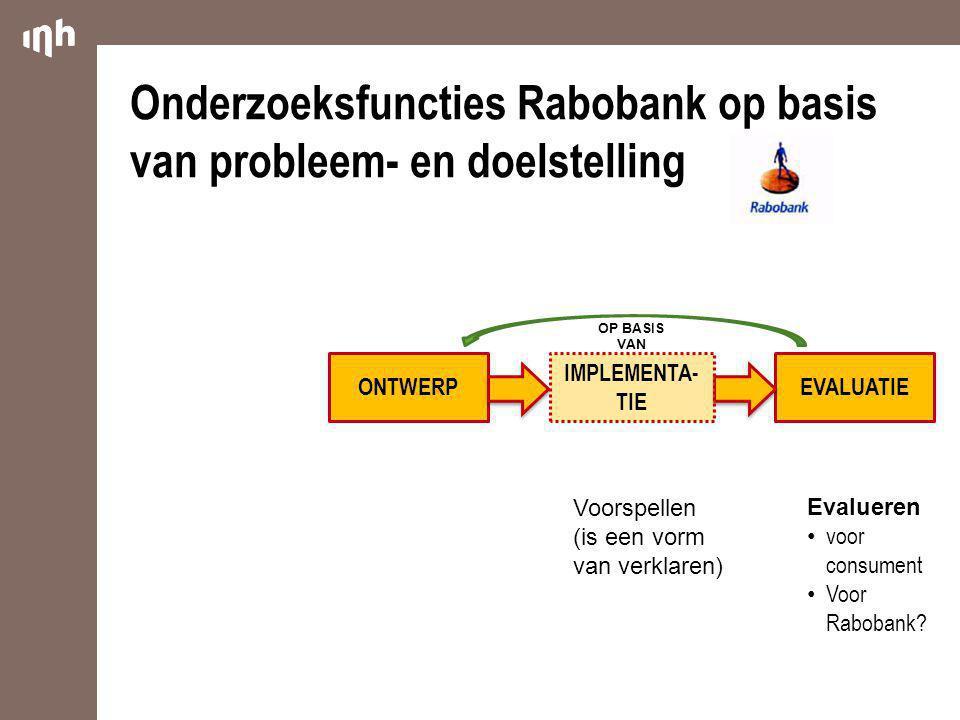 Onderzoeksfuncties Rabobank op basis van probleem- en doelstelling