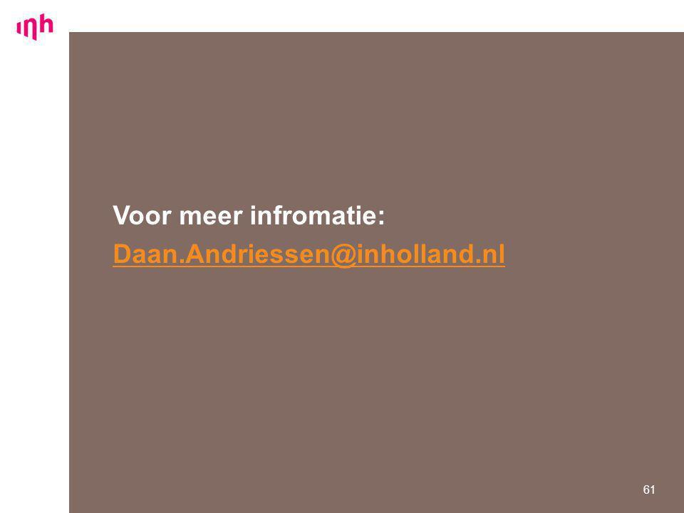 Voor meer infromatie: Daan.Andriessen@inholland.nl