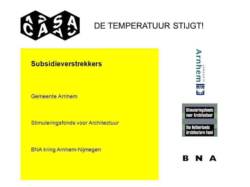 DE TEMPERATUUR STIJGT! Subsidieverstrekkers Gemeente Arnhem