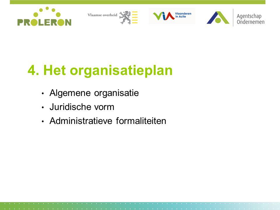 4. Het organisatieplan Algemene organisatie Juridische vorm