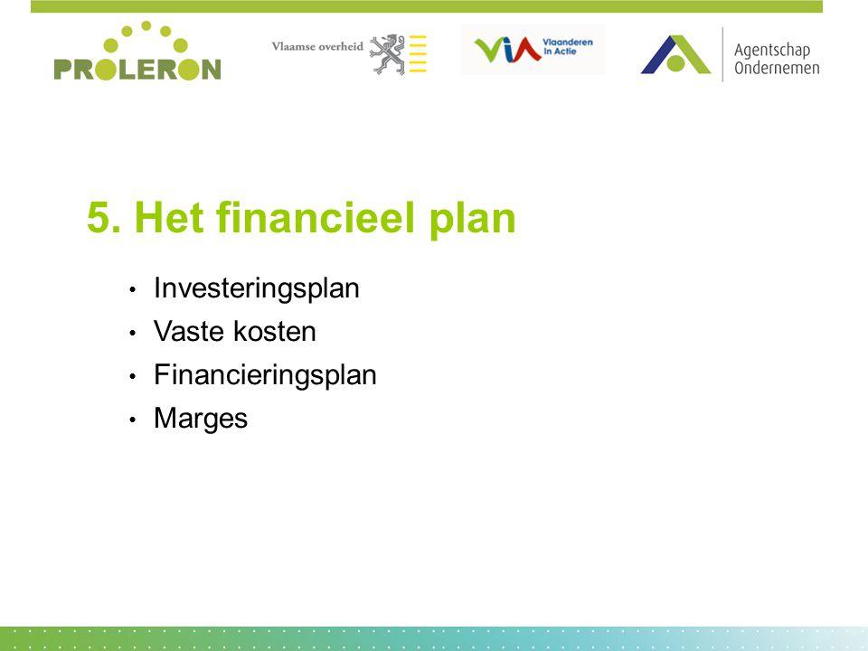 5. Het financieel plan Investeringsplan Vaste kosten Financieringsplan