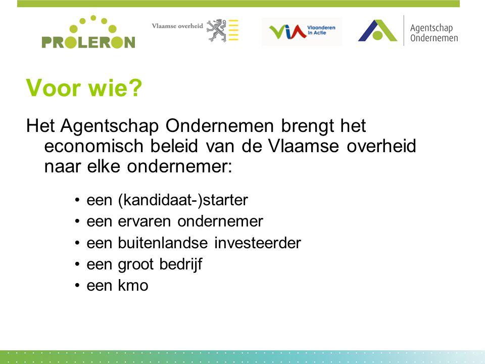 Voor wie Het Agentschap Ondernemen brengt het economisch beleid van de Vlaamse overheid naar elke ondernemer: