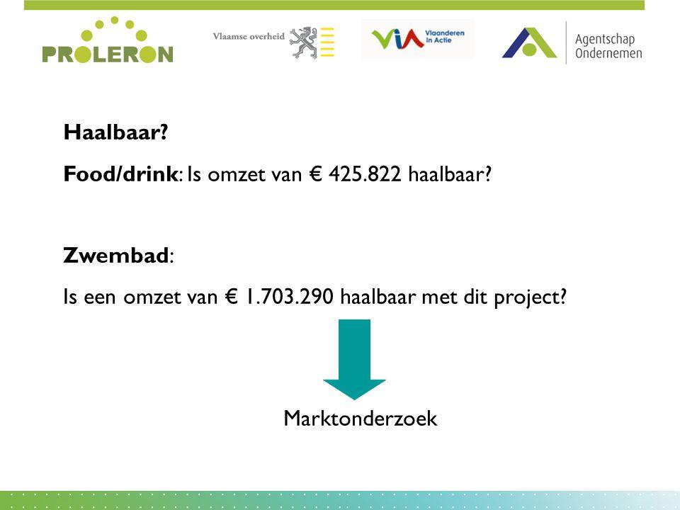 Haalbaar Food/drink: Is omzet van € 425.822 haalbaar Zwembad: Is een omzet van € 1.703.290 haalbaar met dit project