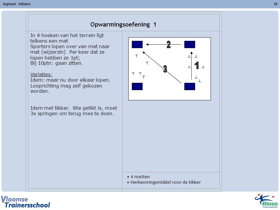 Aspirant - Initiator Opwarmingsoefening 1. In 4 hoeken van het terrein ligt telkens een mat.
