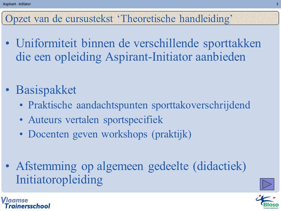 Opzet van de cursustekst 'Theoretische handleiding'