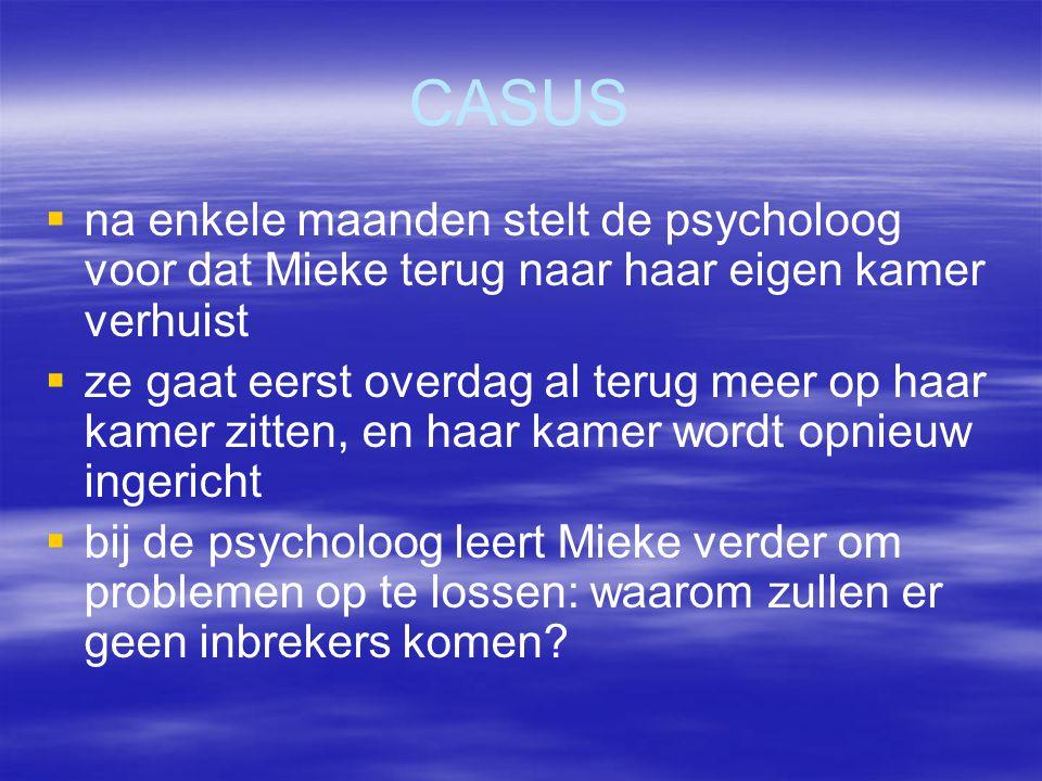 CASUS na enkele maanden stelt de psycholoog voor dat Mieke terug naar haar eigen kamer verhuist.