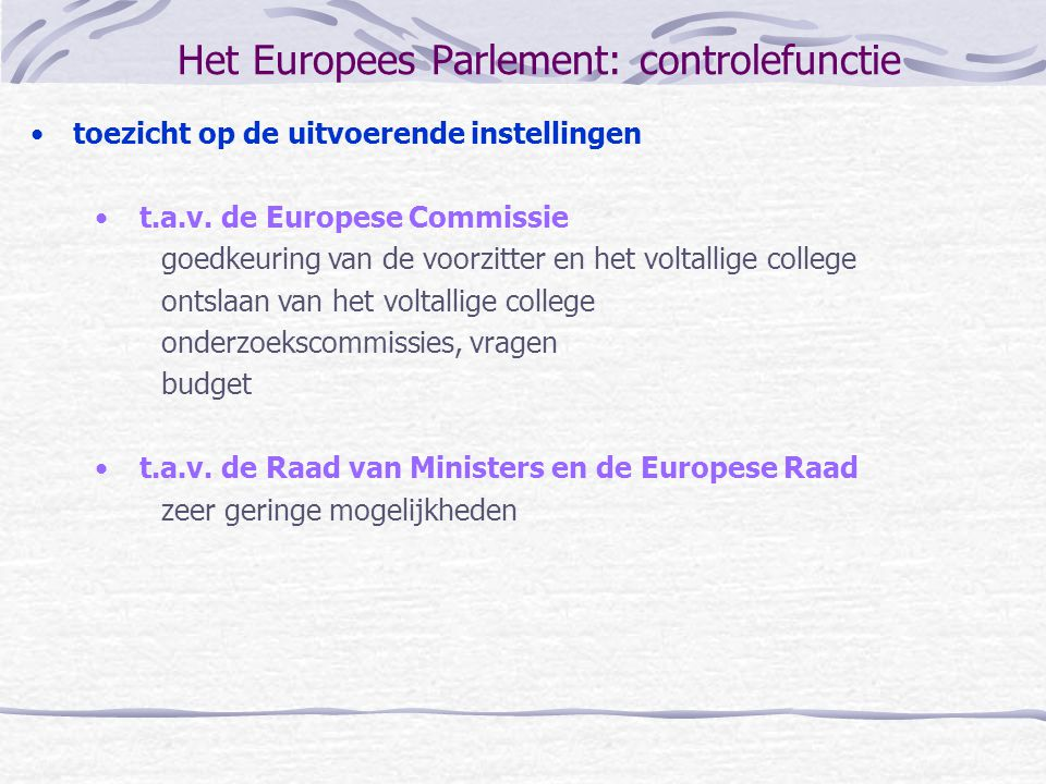 Het Europees Parlement: controlefunctie
