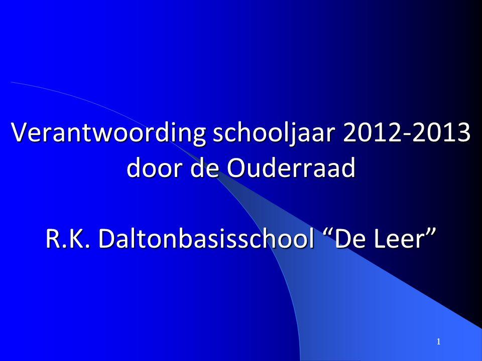 Verantwoording schooljaar 2012-2013 door de Ouderraad R. K