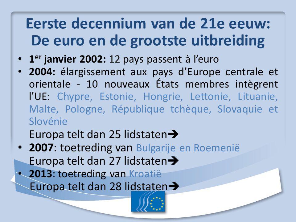 Eerste decennium van de 21e eeuw: De euro en de grootste uitbreiding