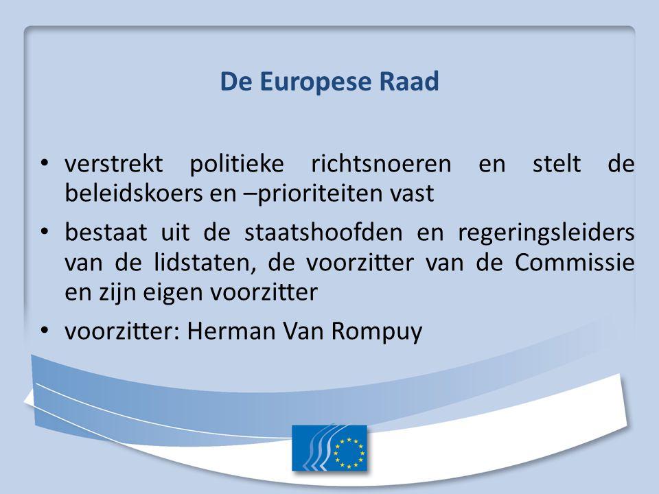 De Europese Raad verstrekt politieke richtsnoeren en stelt de beleidskoers en –prioriteiten vast.