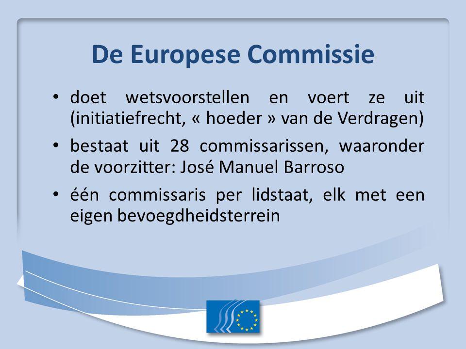 De Europese Commissie doet wetsvoorstellen en voert ze uit (initiatiefrecht, « hoeder » van de Verdragen)