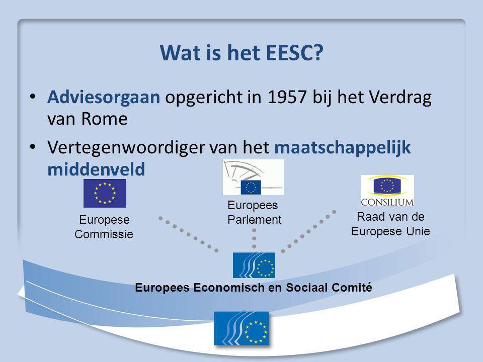 Wat is het EESC Adviesorgaan opgericht in 1957 bij het Verdrag van Rome. Vertegenwoordiger van het maatschappelijk middenveld.