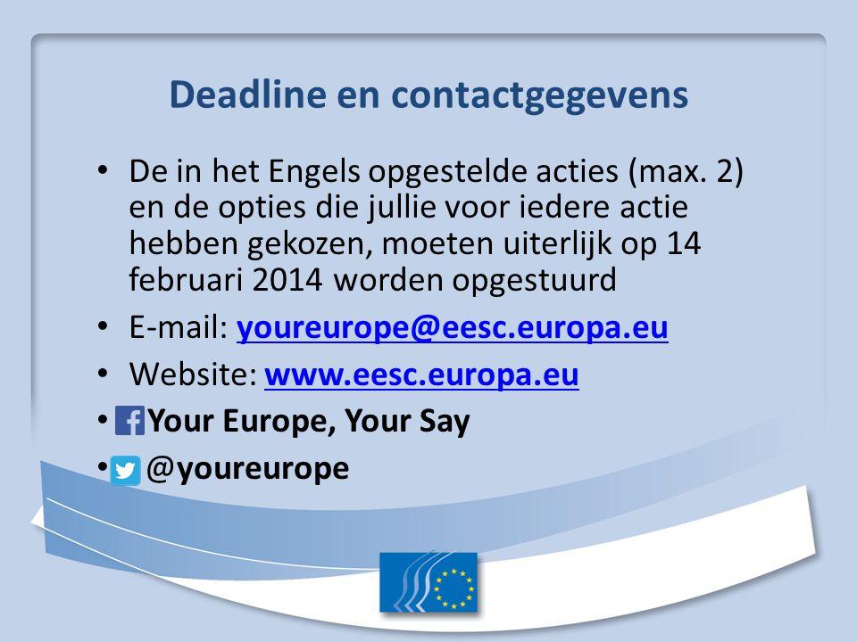 Deadline en contactgegevens