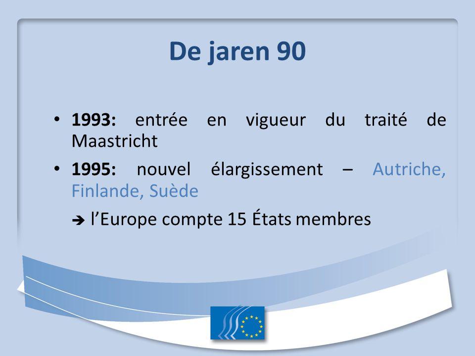 De jaren 90 1993: entrée en vigueur du traité de Maastricht