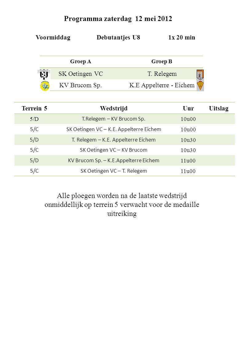 Programma zaterdag 12 mei 2012