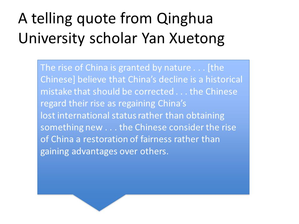 A telling quote from Qinghua University scholar Yan Xuetong