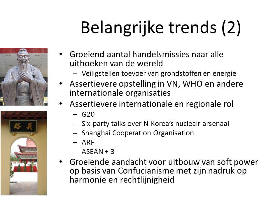 Belangrijke trends (2) Groeiend aantal handelsmissies naar alle uithoeken van de wereld. Veiligstellen toevoer van grondstoffen en energie.