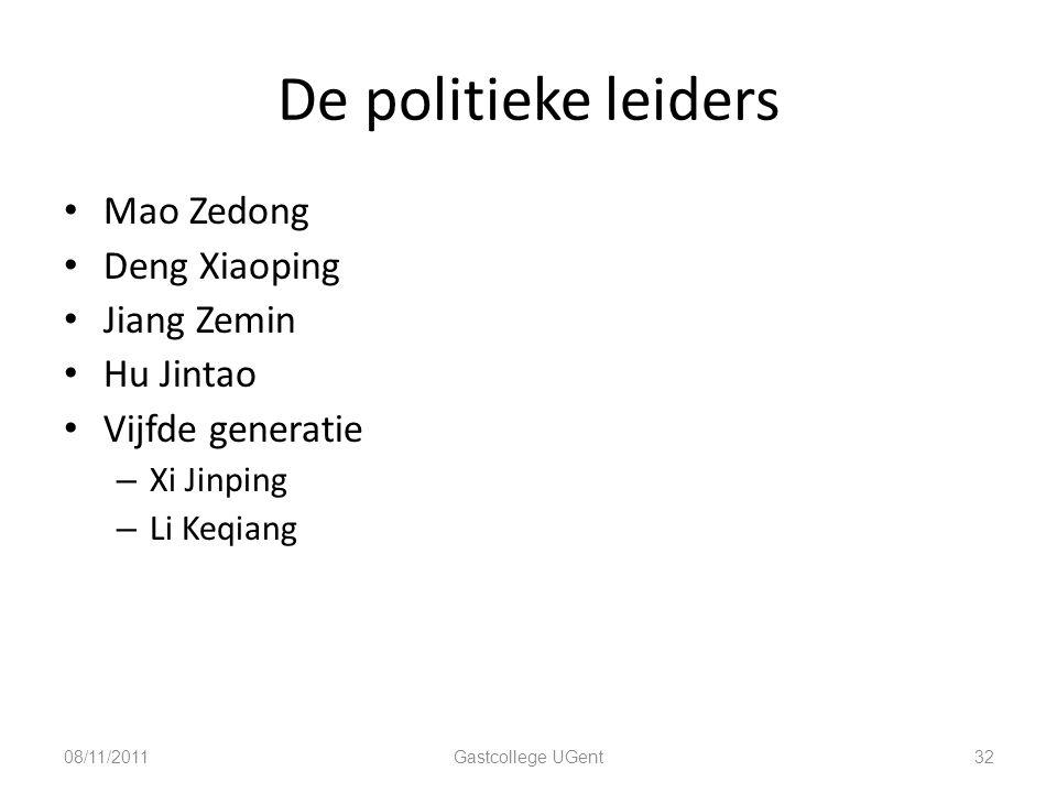 De politieke leiders Mao Zedong Deng Xiaoping Jiang Zemin Hu Jintao