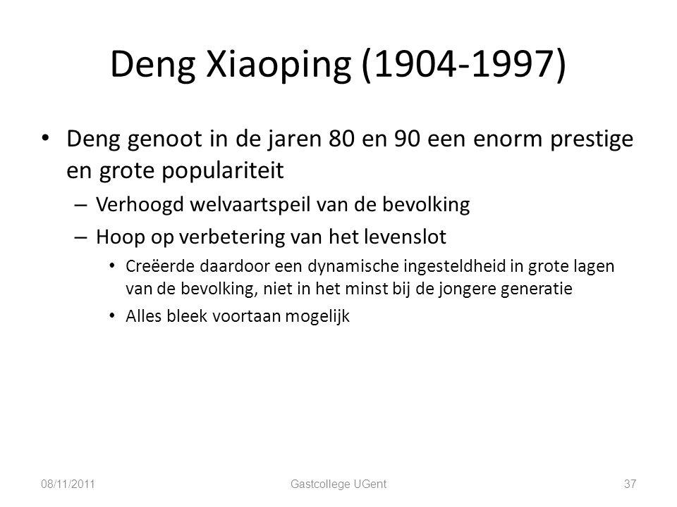 Deng Xiaoping (1904-1997) Deng genoot in de jaren 80 en 90 een enorm prestige en grote populariteit.