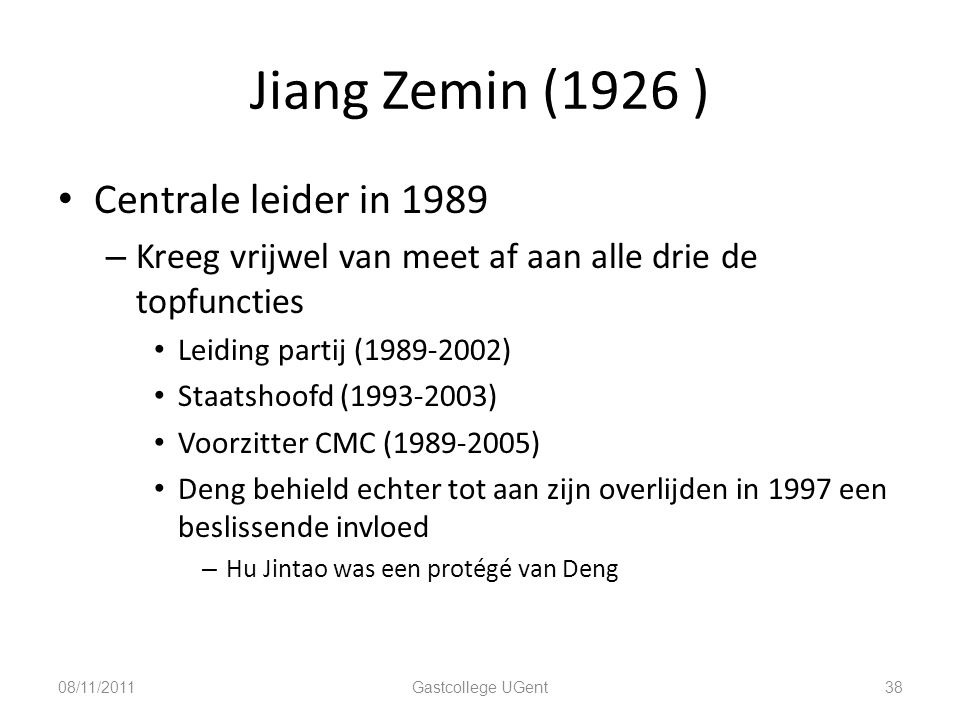 Jiang Zemin (1926 ) Centrale leider in 1989