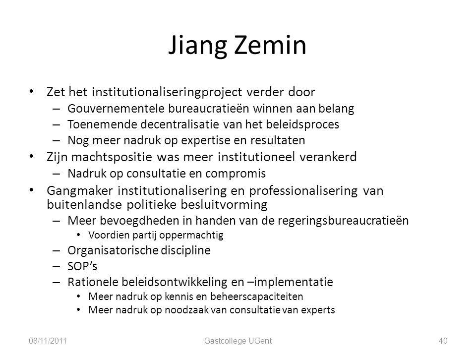 Jiang Zemin Zet het institutionaliseringproject verder door