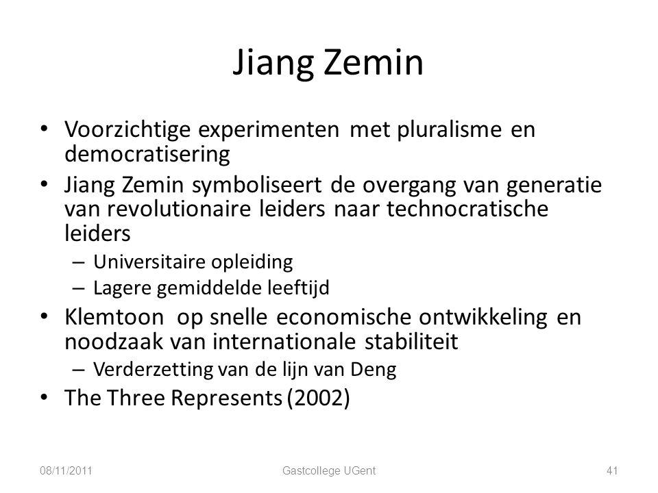 Jiang Zemin Voorzichtige experimenten met pluralisme en democratisering.