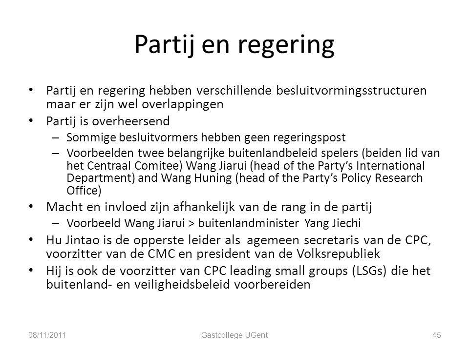 Partij en regering Partij en regering hebben verschillende besluitvormingsstructuren maar er zijn wel overlappingen.