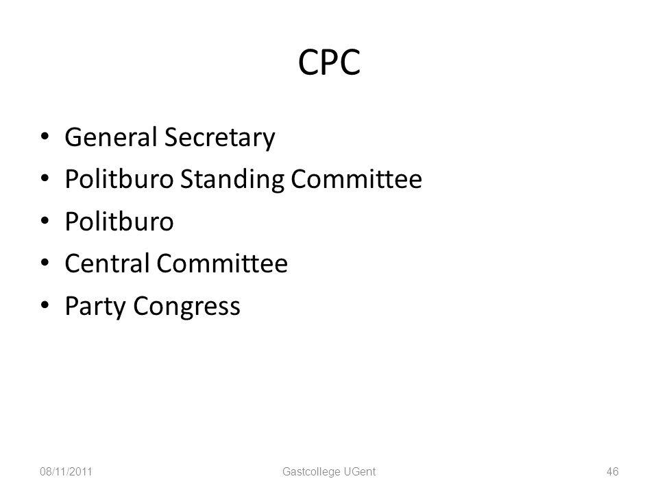 CPC General Secretary Politburo Standing Committee Politburo