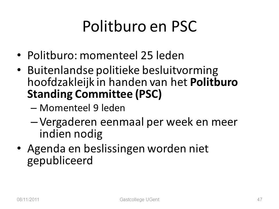 Politburo en PSC Politburo: momenteel 25 leden
