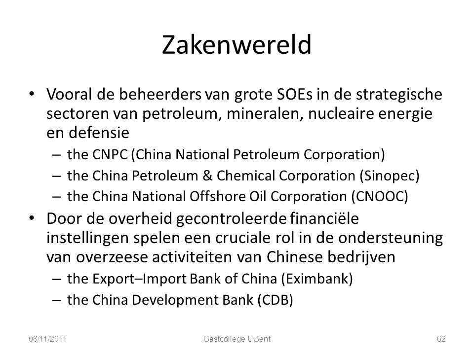 Zakenwereld Vooral de beheerders van grote SOEs in de strategische sectoren van petroleum, mineralen, nucleaire energie en defensie.