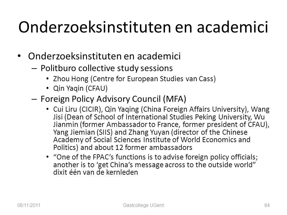 Onderzoeksinstituten en academici