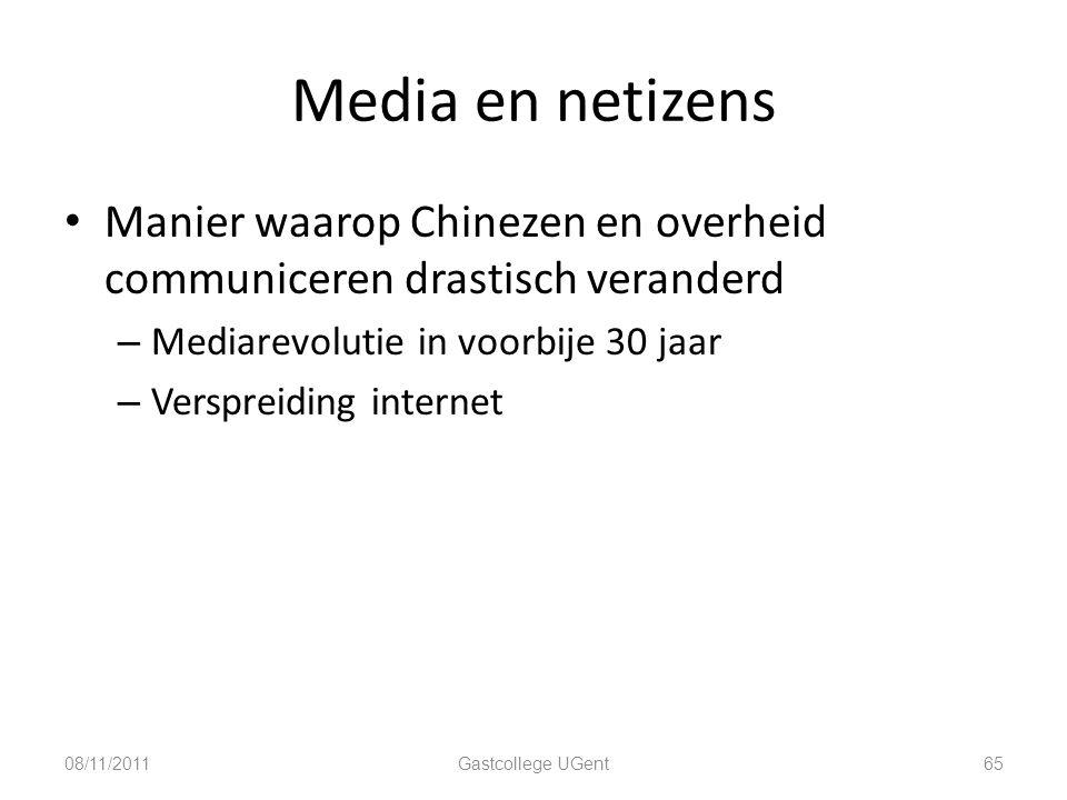 Media en netizens Manier waarop Chinezen en overheid communiceren drastisch veranderd. Mediarevolutie in voorbije 30 jaar.