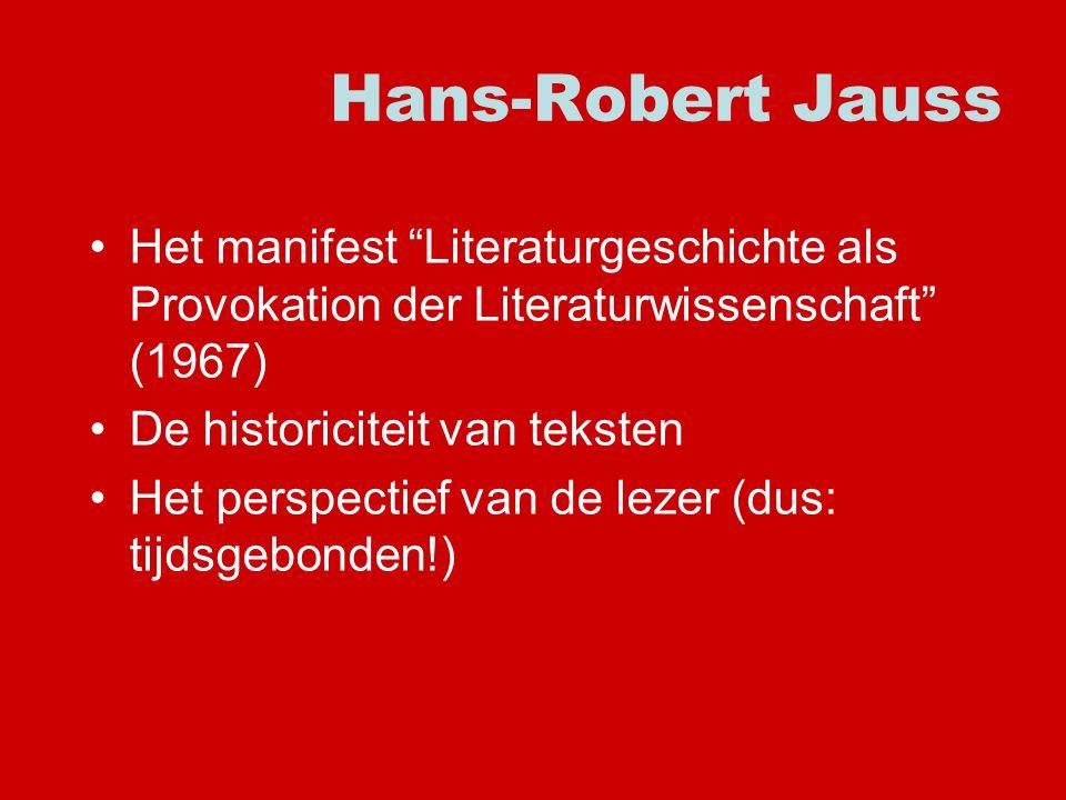 Hans-Robert Jauss Het manifest Literaturgeschichte als Provokation der Literaturwissenschaft (1967)