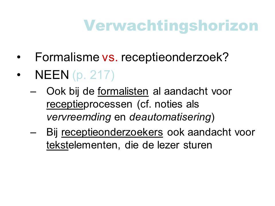 Verwachtingshorizon Formalisme vs. receptieonderzoek NEEN (p. 217)