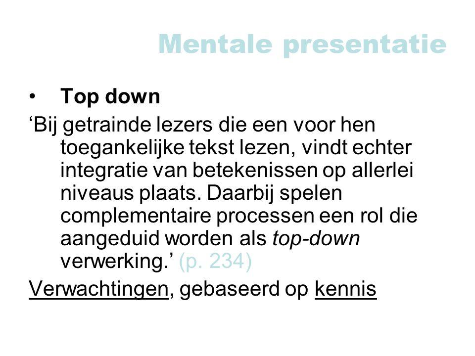 Mentale presentatie Top down
