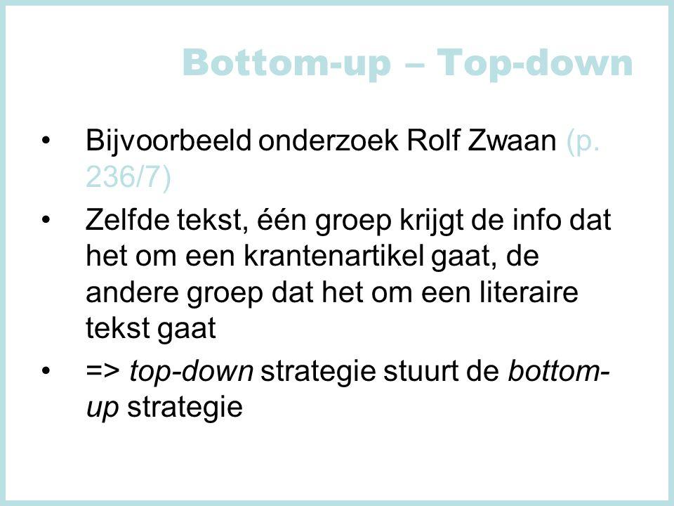 Bottom-up – Top-down Bijvoorbeeld onderzoek Rolf Zwaan (p. 236/7)