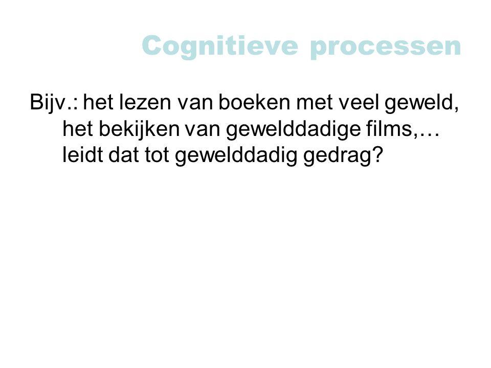 Cognitieve processen Bijv.: het lezen van boeken met veel geweld, het bekijken van gewelddadige films,… leidt dat tot gewelddadig gedrag