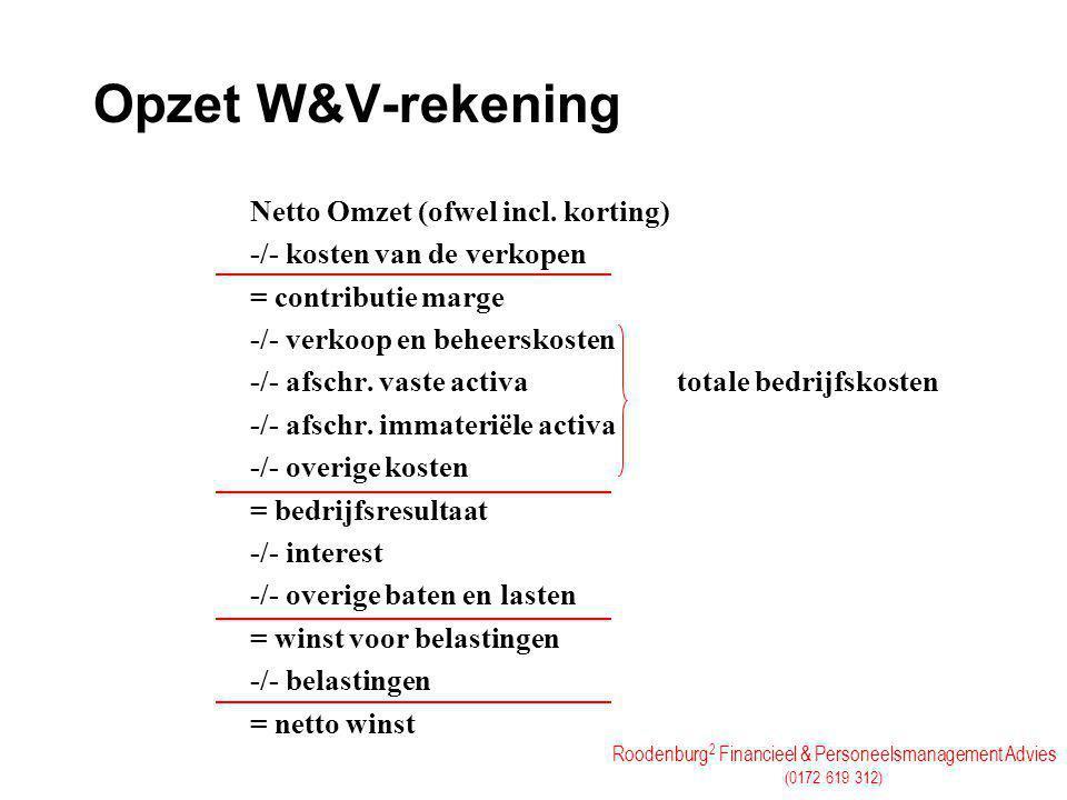 Opzet W&V-rekening Netto Omzet (ofwel incl. korting)