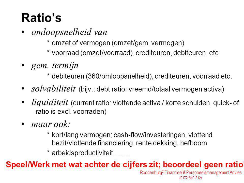 Ratio's omloopsnelheid van gem. termijn