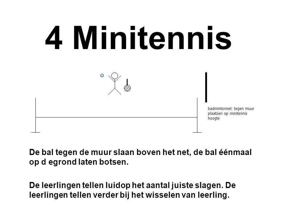 4 Minitennis badmintonnet tegen muur plaatsen op minitennis hoogte.