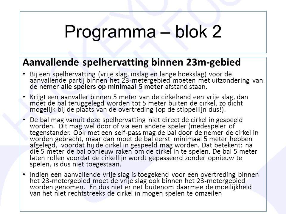 Programma – blok 2 Aanvallende spelhervatting binnen 23m-gebied