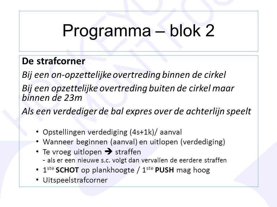 Programma – blok 2 De strafcorner