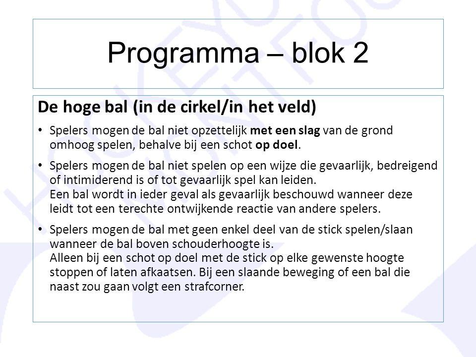 Programma – blok 2 De hoge bal (in de cirkel/in het veld)