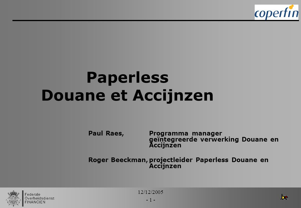 Paperless Douane et Accijnzen