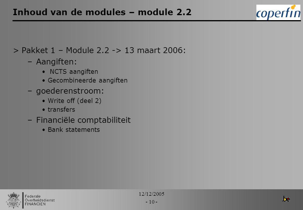 Inhoud van de modules – module 2.2